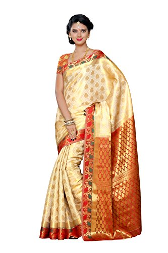 Mimosa Women's Traditional Art Silk Saree Kanjivaram Style With Blouse Color:Tusser(3298-208-TSSR-MRN )  available at amazon for Rs.1899
