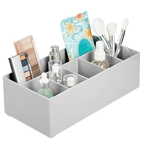 Mdesign portaoggetti bagno perfetto per il tavolo da trucco - scatola porta oggetti per il make-up in plastica priva di bpa - moderno portatrucchi dotato di 6 pratici scomparti - grigio