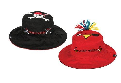 Luvali Kinder Hut UV Wende Sonnenhut Pirat-Papagei, Black/Red, S