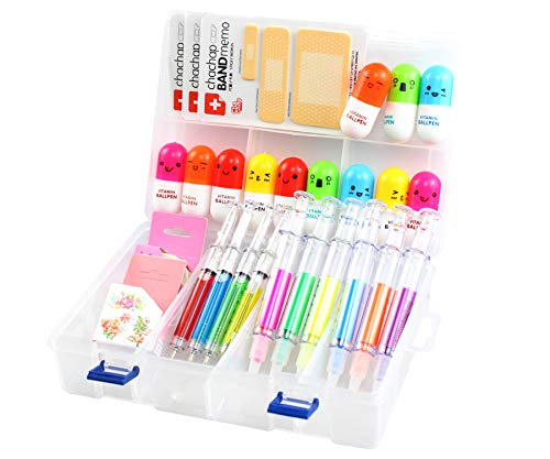 6 penne Evidenziatore a siringa, 4 penne a siringa, 12 penne a capsula, 3 note adesive con cerotto, 1 scatola di ricezione in plastica e 2 nastri washi carini