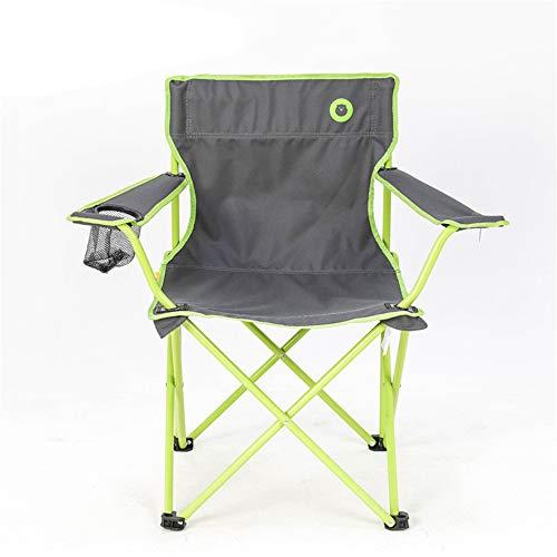 RBH Klappbarer Camping Stuhl Angeln Stuhl Rückenlehne Stuhl Mit Getränkehalter Schwere Stahlrahmen Halterung Faltbare Verdickung Sessel Outdoor Schwere,Green