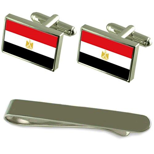 Ägypten Flagge Silber Manschettenknöpfe Krawatten Geschenkset mit Gravur