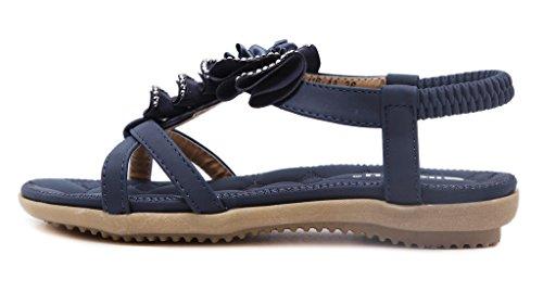 Fortuning's JDS Estate confortevole Boemia Fiore piatto slingback sandalo della spiaggia Blu