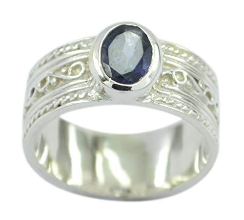 riyo regelmäßiger 925er Sterlingsilber faszinierender natürlicher Blauer Ring, Iolitblauer Edelstein-Silberring