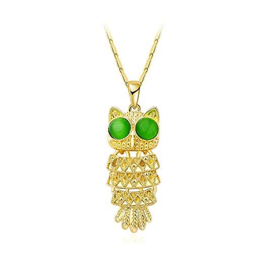 Gnzoe Placcato oro Novelty Classic Style Tagliaree Green Eye Owl Argento Pendente Collane per Donna