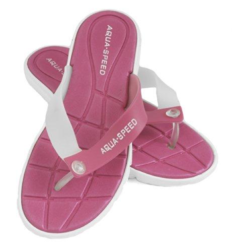 Aqua-Speed - Damen Badeschuhe / Sandalen Strandschuhe pink/weiß