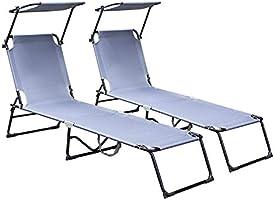 Hengda ligbed met verstelbare zonnescherm, 189 x 55 x 27 cm, verstelbare stoel draagbaar 110 kg belasting, opklapbare...