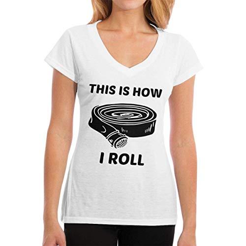 T-Shirts This is How I Roll Firefighter Womens Casual Damenmode Kurzarm V-Ausschnitt T-Shirt - Ecko Jungen Shorts