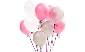 PuTwo Rose BlancArgentBallon,100pcs12 Pouces Rose PaleBallon BaudrucheBlanc Argenté Ballons Latexpour Anniversaire Argent, Deco Mariage Rose et Blanc, Decoration Anniversaire Rose et Argent