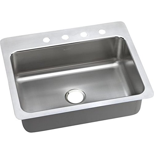 Elkao|#Elkay LSR27224 18 Gauge Stainless Steel 27 Inch x 22 Inch x 8 Inch single Bowl Dual / Universal Mount Kitchen Sink, 4 Faucet Holes, by Elkay - Dual Gauge Mount