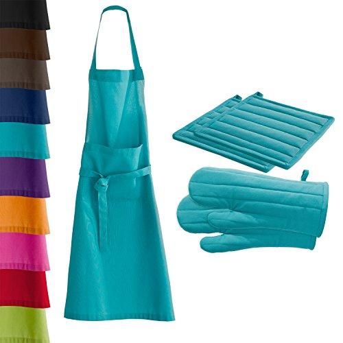 Beautissu - Tablier de cuisine + 2 maniques + 2 gants de cuisson - Barbecue Grill - 100% Cotton - Turquoise