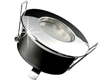 LED Spot à Encastrer pour salle de bains [DIMM Bar], Luminaire IP65Lampe encastrable, RW-1Chromé mat, 5W blanc chaud GU10230V [Idéal dans la salle de bain: Montage facile, superbe Luminosité, qualité, et finitions] lumineuse pour l'intérieur extérieur, Carport Auvent