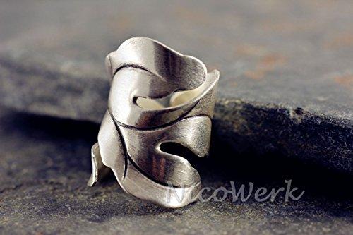 NicoWerk Silberring VINTAGE Ring Silber 925 Breit Blatt Verstellbar Damenringe Damen Schmuck 190