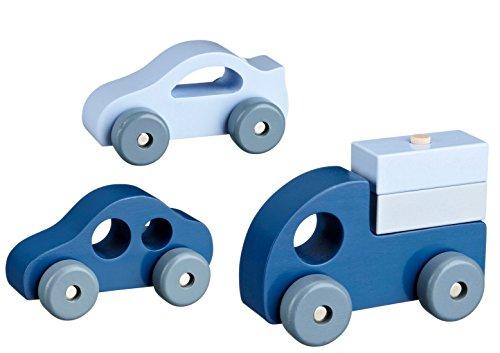 Kids Concept- Holzspielzeug Autos 3er Set mit LKW Holzauto, Blau