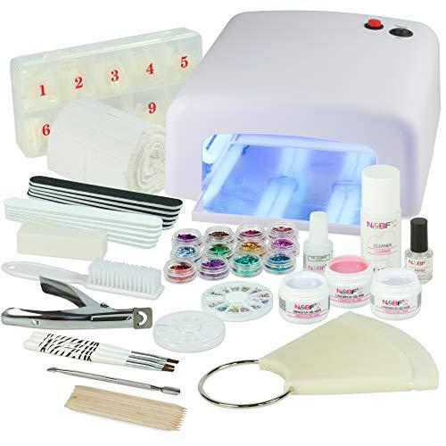 UV Gel Nagelstudio Starter Set Weiß-Nagelset mit Nailart, UV Lampe und UV Gel ideales Starterset - Set Gel Uv