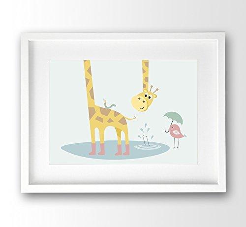 Kinderzimmer Bild ungerahmt, Rutschpartie Giraffe und Freunde pastellfarben