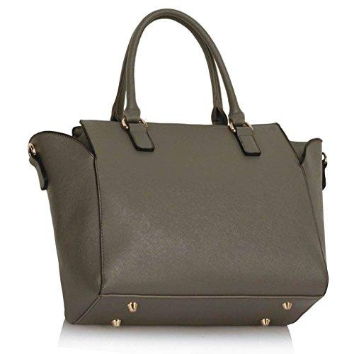 TrendStar Trendstar Damenhandtaschen Der Frauen Schulterbeutel Designer Neue Promi Stil Trage Groß (Lila Trage Bag1) Grau 2