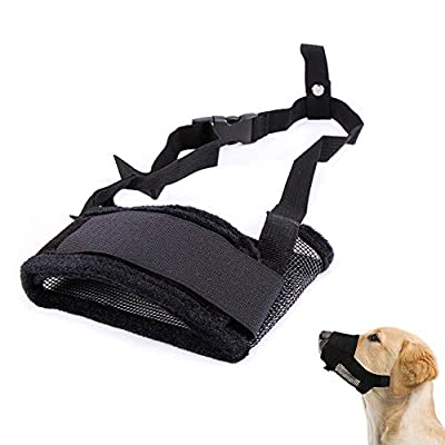 Galaxer Dog Muzzle Loop Nylon Material Heavy Duty Dog Muzzle with Adjustable Size and Flannel Protection Soft and Flexible Through Extra Soft Padding for Walking and Training from Galaxer