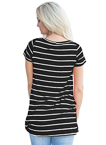 Azbro Women's Fashion Front Knot Short Sleeves Striped Tee white