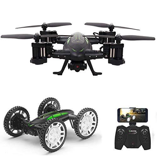 RC Flying Coche Drone con Cámara HD 2 en 1 Air-Road Double Model Juguetes, FPVRC Droncuadricóptero 2.4GHz 4CH 6-Axis Gyro Remote Control Helicopter&Flying Car