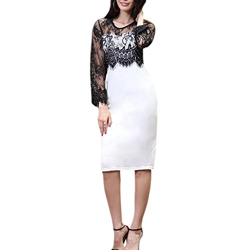 Meijunter Kleid Lange Ärmel Rundhals Kleider Damen Elegant Lace Cotton Stitching Bleistiftrock Schwarz-Weiss