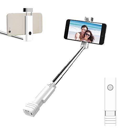 Atongm Bluetooth Selfie Stick, Mini SelfieSticks für iPhone XR/X / 8/8 Plus / 7/7 Plus / 6/6 Plus / 6 s / 6 s Plus / 5 S, Galaxy S5 / S6 / S7 / S8, Google, Huawei und Mehr (Weiß)