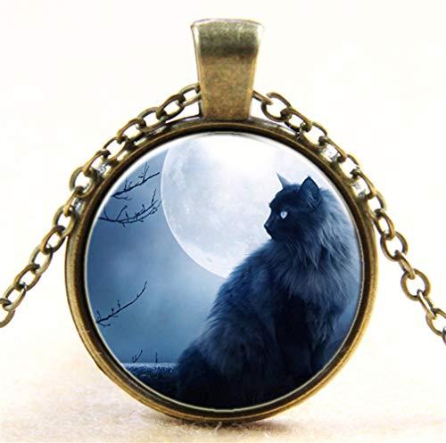 Schwarze Katze Zeit Edelstein Glas Halskette in Silber Moon Short Silber Ornament A