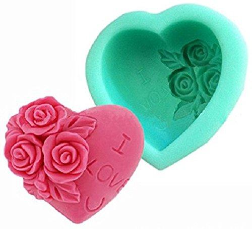 Inception pro infinite stampo in silicone per uso artigianale di un cuore adornato di rose con la scritta i love u (io ti amo) - adatto anche per sapone