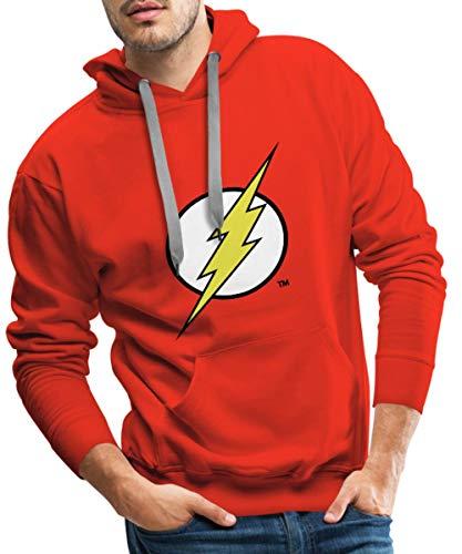 Spreadshirt DC Comics Justice League Flash Logo Männer Premium Hoodie, M, Rot (Offizielle Dc Comic Kostüme)