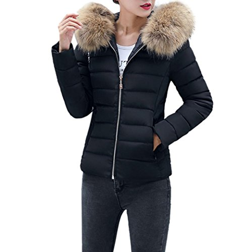 Elecenty Damen Warm Mantel Wintermantel Kurz Winterjacke Dickere mit Kapuze Slim Fit Outwear Baumwollkleidung Parkajacke Reißverschluss Jacke Steppjacke mit Pelz Halsband (XL, Schwarz)