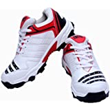 Firefly Men's All Rounder White Sports Cricket Shoes with Imported Sole Made from High Quality P.U