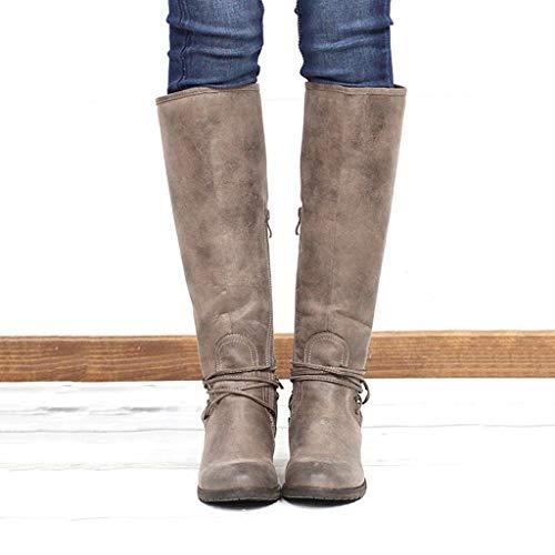 DNOQN Damen Lange Stiefel Mode Leopard Kreuz Krawatte Reißverschluss Booties Freizeit Schuhe Kaffee 42