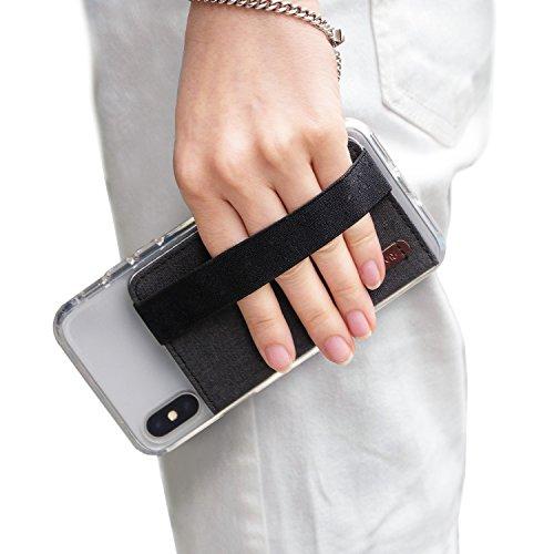 Ringke Flip Kartenhhalter Hülle für Handy mit Gummiband [Kohle Schwarz] Geldbörse für Minimalisten 3M Befestigung Kartenhülle für Galaxy Note 10 Plus, S10 Plus, Huawei P30, Mate 20 Pro, iPhone XR