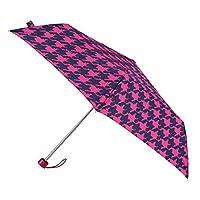 totes Supermini Pink & Navy Dogtooth Print Umbrella