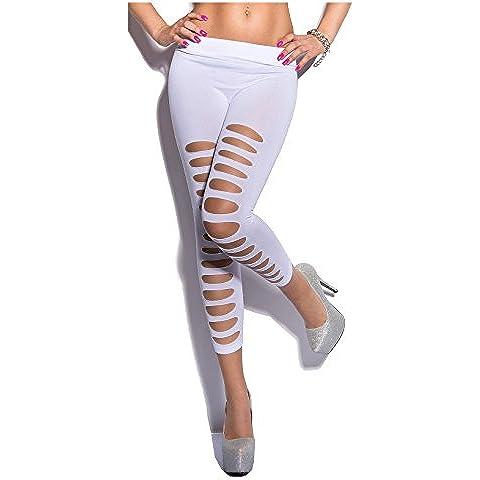 7/8Leggings Capri pantaloni con strappi Cut Outs in bianco e nero turchese verde neon rosa Coral taglia unica adatta per XS S M 343638di Fashion Design