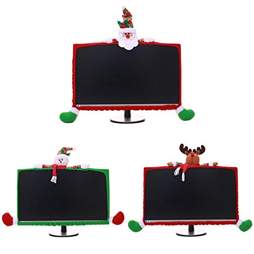 HibiscusElla Non Woven Fabric Computer Monitor Frame Cover Christmas Decoration for Home