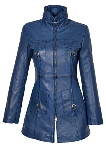 Frauen Neueste 3/4 Ausgestattet Echte Ledermantel Damen Trendy Reißverschluss Jacke Carol Blau (XL - EU 42)