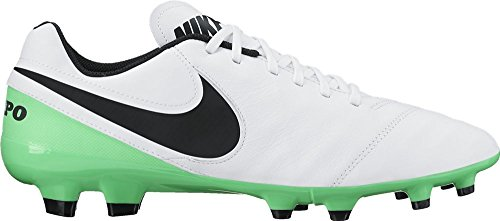 Nike Tiempo Genio Ii Leather, Chaussures de Football Entrainement Homme WHITE/BLACK-ELECTRO GREEN