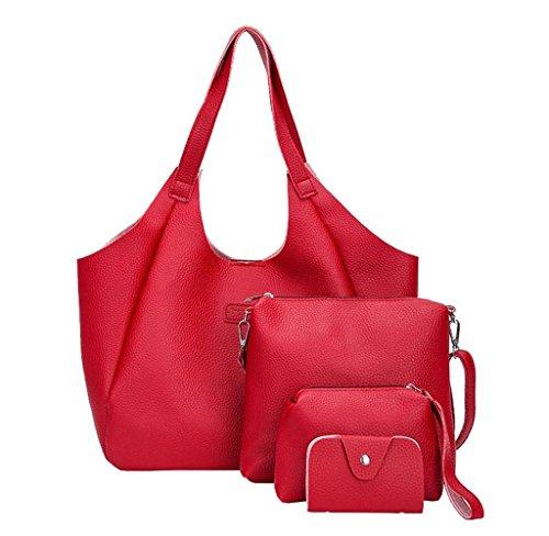 (Tomatoa Rucksackhandtaschen Damen Frauen Mädchen Mode Rucksack Handtasche Schultertasche Schuleinkaufstasche Frau Geschenke Damen PU Leder (Rot))