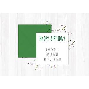 Alles Gute zum Geburtstag - ich hoffe, ich werde niemals Rindfleisch mit dir haben! - Veganer Grußkarte