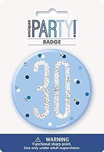 Unique Party 83520 - Insignia de cumpleaños, color azul y plateado