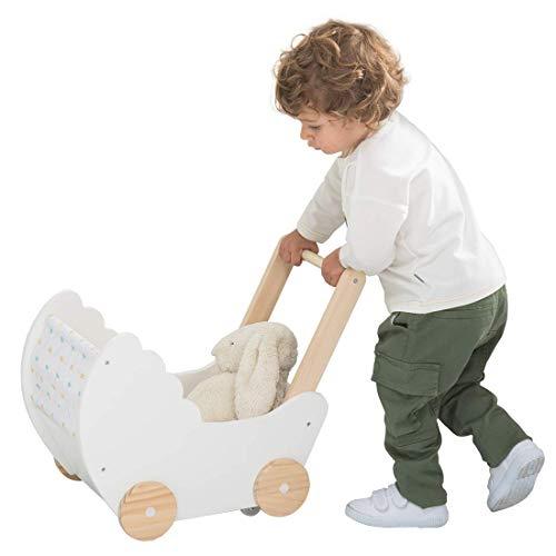 JOLIE VALLÉE TOYS & HOME Kinder Puppenwagen Lauflernwagen Holz weiß Lauflernhilfe Puppe Stoff Kinderwagen Mädchen Pretend Play Push Pull Spielzeug für 1-3 Jahre
