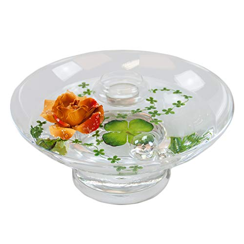Glass Bowl Hollow H ,10 CM; diameter: 25 CM, includes decorative Rose Red / Brown, Large) by GlaskönigÃ'® Komplett Angebote
