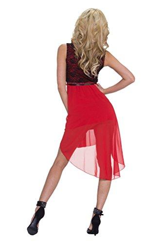Brinny Femmes Mini Jupe Robe de Soirée Sans-Manche Robe élégantes en Mousseline de soie Rouge