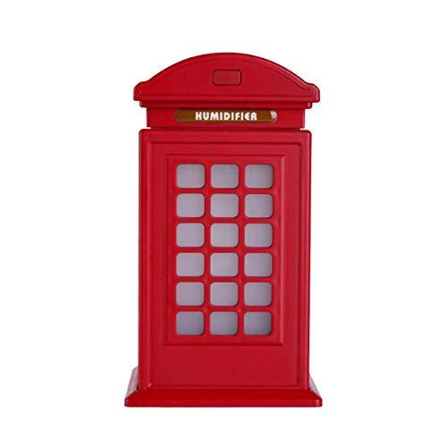 WJ 300ml Ultraschall Telefonzelle Luftbefeuchter, Mini Kalten Nebel Ultraschall Luftreinigung Luftbefeuchter, Britische Art, Automatische Abschaltung, 7 Farbe Licht