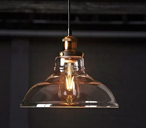 Feven Vintage Lighting Industrial Style Edison 1 Light Glass Shade Ceiling Light Pendant Lamp Fixture (Bulb