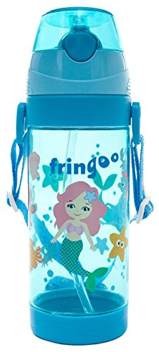 Fringoo 550 ML Enfants Paille Boissons Bouteille d'eau avec poignée Sangle/Flip Top, sans BPA Eastman Tritan, sirène, 9.02 x 4.21 x 2.91 cm