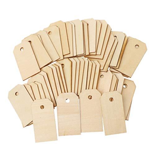 GROOMY 50 Pieces Blank Unfinished Holz Geschenkanhänger hängen Ornamente Party Hochzeit Gefälligkeiten (Unfinished Holz Ornamente)