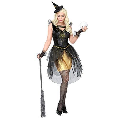 Amakando Eng Anliegendes Damen-Outfit dunkle Zauberin / Schwarz-Gold in Größe M (38/40) / Frech Elegante Halloween-Verkleidung für Frauen Hexe / Genau richtig zu Themenabend & - Frechen Zauberin Kostüm