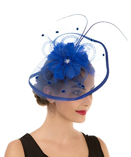 Lucky Leaf Fascinators Hut Blume Mesh Bänder Federn auf einem Stirnband und einem geteilten Clip Cocktail Tea Party Hochzeit Kirche Headwear für Mädchen und Frauen Braut (1-8-Königsblau)